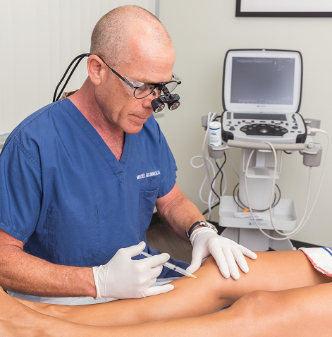 Dr. Mitchel Goldman of Cosmetic Laser Dermatology performing an injection