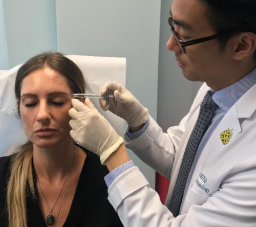 patient receiving Juvederm dermal filler injections from a dermatologist in San Diego, CA