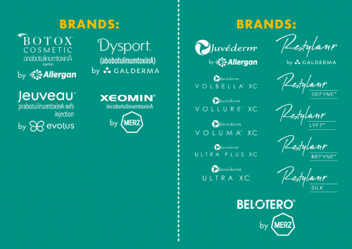 Brands of Neuromodulators, injectables, and dermal fillers infographic photo for Cosmetic Laser Dermatology in San Diego. Brands include: Botox Cosmetic, Dysport, Jeuveau, Xeomin, Juvederm, Volbella, Restylane, and more.