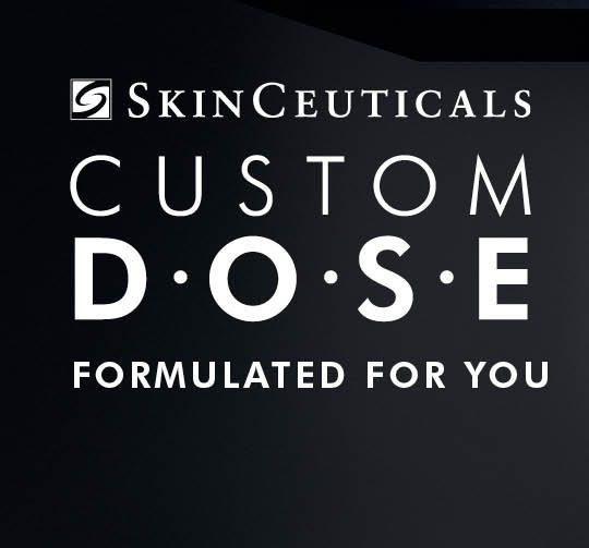 Logo for Skinceuticals Custom D.O.S.E. skincare serum for San Diego patients.\