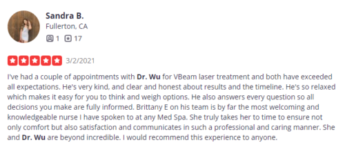 dr.wu and clderm received a positive review from a patient from yelp