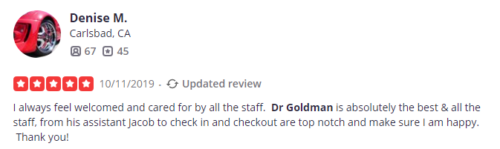 Dr. Goldman from Cosmetic Laser Dermatology has a positive review from a yelp user