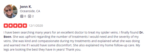 Jenn K. left a positive review for cosmetic laser dermatology and Dr. boen on Yelp